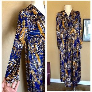 Vintage gold blue long sleeve maxi silky dress